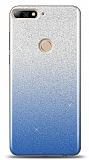 Huawei Y7 2018 Simli Mavi Silikon Kılıf