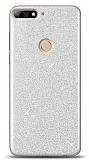 Huawei Y7 2018 Simli Silver Silikon Kılıf