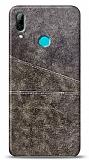 Huawei Y7 2019 Silikon Kenarlı Kartlıklı Kahverengi Deri Kılıf