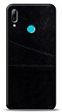 Huawei Y7 2019 Silikon Kenarlı Kartlıklı Siyah Deri Kılıf
