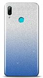 Huawei Y7 Pro 2019 Simli Mavi Silikon Kılıf