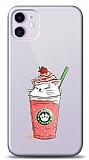 iPhone 11 Catpuccino Çilekli Kabartmalı Parlak Kılıf
