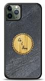 iPhone 11 Pro Kişiye Özel Çift İsim Doğal Mermer ve Bambu Kılıf