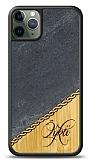 iPhone 11 Pro Kişiye Özel Tek İsim Doğal Mermer ve Bambu Kılıf