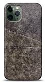 iPhone 11 Pro Max Silikon Kenarlı Kartlıklı Kahverengi Deri Kılıf