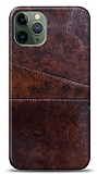 iPhone 11 Pro Max Silikon Kenarlı Kartlıklı Kızıl Kahve Deri Kılıf
