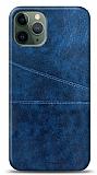 iPhone 11 Pro Max Silikon Kenarlı Kartlıklı Lacivert Deri Kılıf