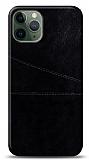 iPhone 11 Pro Max Silikon Kenarlı Kartlıklı Siyah Deri Kılıf