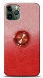 iPhone 11 Pro Max Simli Yüzüklü Kırmızı Silikon Kılıf