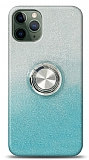 iPhone 11 Pro Max Simli Yüzüklü Mavi Silikon Kılıf