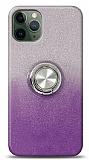 iPhone 11 Pro Max Simli Yüzüklü Mor Silikon Kılıf