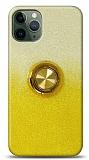 iPhone 11 Pro Max Simli Yüzüklü Sarı Silikon Kılıf