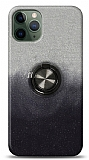 iPhone 11 Pro Max Simli Yüzüklü Siyah Silikon Kılıf