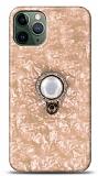 iPhone 11 Pro Mozaik Yüzüklü Gold Silikon Kılıf
