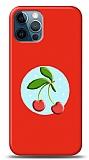 iPhone 12 / iPhone 12 Pro 6.1 inç Kiraz Kabartmalı Parlak Kırmızı Kılıf