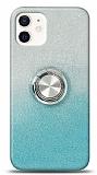 iPhone 12 Mini 5.4 inç Simli Yüzüklü Turkuaz Silikon Kılıf