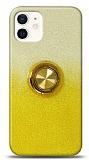 iPhone 12 Mini 5.4 inç Simli Yüzüklü Sarı Silikon Kılıf