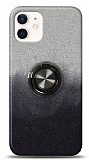 iPhone 12 Mini 5.4 inç Simli Yüzüklü Siyah Silikon Kılıf