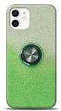 iPhone 12 Mini 5.4 inç Simli Yüzüklü Yeşil Silikon Kılıf