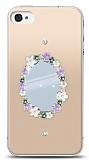 iPhone 4 / 4S Çiçekli Aynalı Taşlı Kılıf