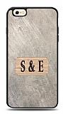 iPhone 6 / 6S Kişiye Özel Çift Harf Doğal Mermer ve Bambu Kılıf