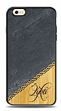iPhone 6 / 6S Kişiye Özel Tek İsim Doğal Mermer ve Bambu Kılıf