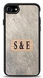 iPhone 7 / 8 Kişiye Özel Çift Harf Doğal Mermer ve Bambu Kılıf