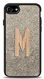 iPhone 7 / 8 Kişiye Özel Tek Harf Doğal Mermer ve Bambu Kılıf