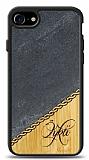 iPhone 7 / 8 Kişiye Özel Tek İsim Doğal Mermer ve Bambu Kılıf