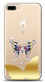 iPhone 7 Plus / 8 Plus Gold Kelebek Taşlı Kılıf