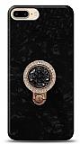 iPhone 7 Plus / 8 Plus Mozaik Yüzüklü Siyah Silikon Kılıf