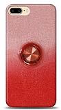 iPhone 7 Plus Simli Yüzüklü Kırmızı Silikon Kılıf