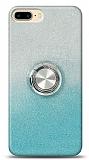 iPhone 7 Plus Simli Yüzüklü Mavi Silikon Kılıf