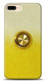 iPhone 7 Plus Simli Yüzüklü Sarı Silikon Kılıf