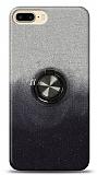 iPhone 8 Plus Simli Yüzüklü Siyah Silikon Kılıf