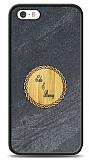 iPhone SE / 5 / 5S Kişiye Özel Çift İsim Doğal Mermer ve Bambu Kılıf