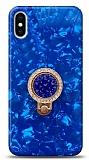 iPhone X / XS Mozaik Yüzüklü Mavi Silikon Kılıf