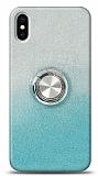 iPhone X / XS Simli Yüzüklü Mavi Silikon Kılıf