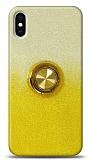 iPhone X / XS Simli Yüzüklü Sarı Silikon Kılıf