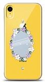 iPhone XR Çiçekli Aynalı Taşlı Kılıf