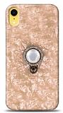 iPhone XR Mozaik Yüzüklü Gold Silikon Kılıf