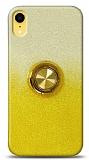 iPhone XR Simli Yüzüklü Sarı Silikon Kılıf