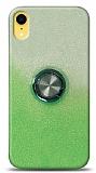 iPhone XR Simli Yüzüklü Yeşil Silikon Kılıf