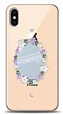 iPhone XS Max Çiçekli Aynalı Taşlı Kılıf