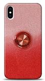 iPhone XS Max Simli Yüzüklü Kırmızı Silikon Kılıf