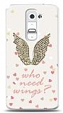 LG G2 Who Needs Wings Taşlı Kılıf
