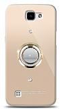 LG K4 Gold Tutuculu Taşlı Şeffaf Kılıf