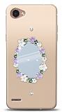 LG Q6 Çiçekli Aynalı Taşlı Kılıf
