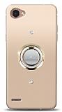 LG Q6 Gold Tutuculu Taşlı Şeffaf Kılıf