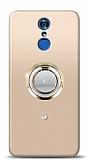 LG Q7 Plus Gold Tutuculu Taşlı Şeffaf Kılıf